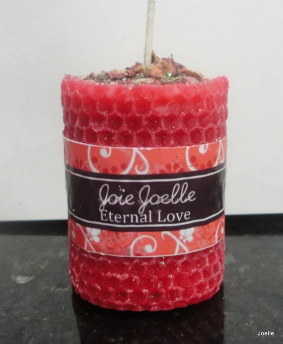 Eternal Love Red Spell Pillar Candle for strengthening love bonds,  passionate love, bewitchment, sexual intimacy