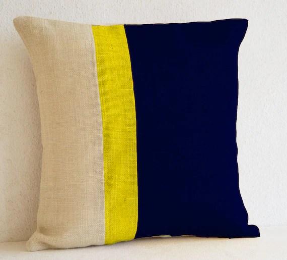Burlap Pillows Navy Blue Yellow Burlap Solid Stripe Color