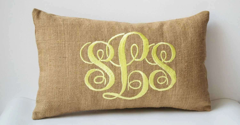 Burlap Monogram Pillows Custom Lumbar Pillow Covers Cursive