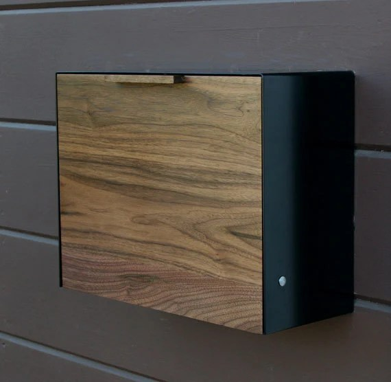 Modern Mailbox Large Walnut and Stainless Steel by CeCeWorks