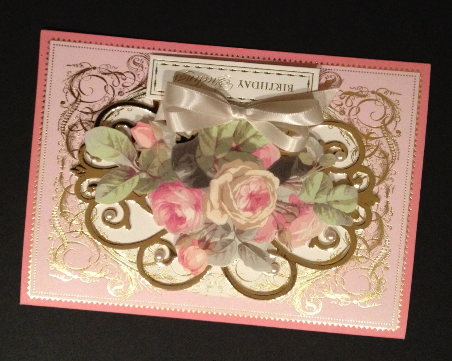 Fancy Birthday Greetings Card With Pink And Gold