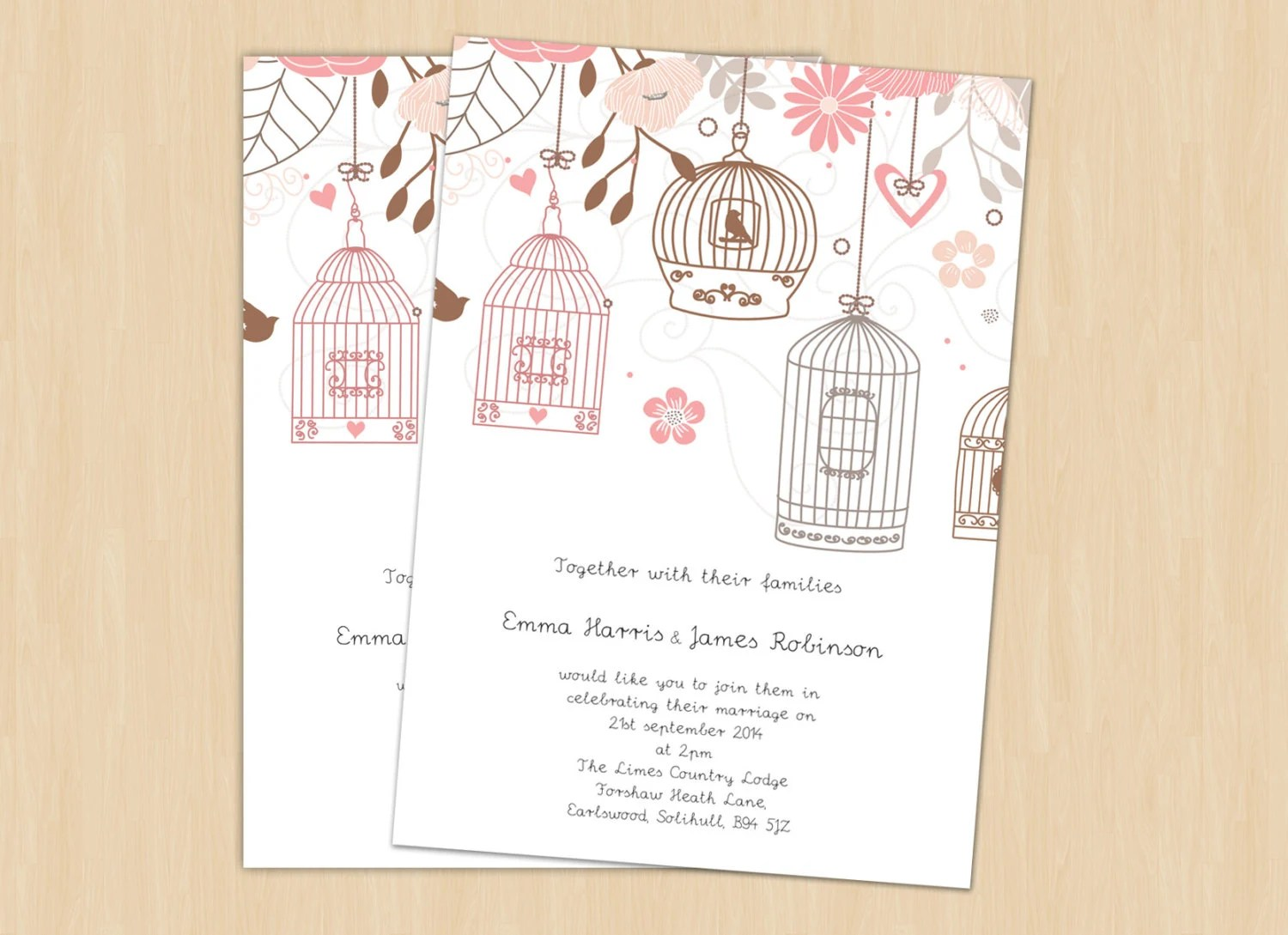 Bird Wedding Invitation: Wedding Invitation, Bird Cage, Printable Template, DIY