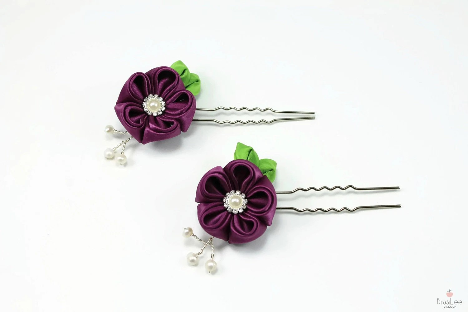 Bridal Hair Pins/ Purple Petunia Hair Pins - BrasiLeeBoutique