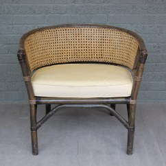 Cane Barrel Chair Dining Seat Covers India Vintage Rattan Caned With Cushion