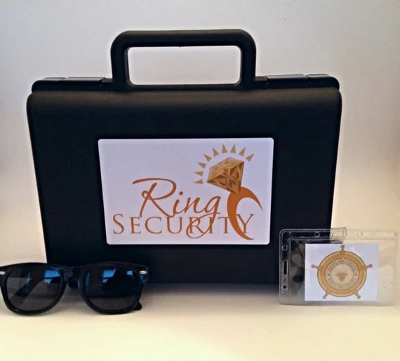 Ring Security Briefcase, Badge and Sunglasses (Gold) -- Ring Bearer Pillow Alternative, Ring Bearer Gift