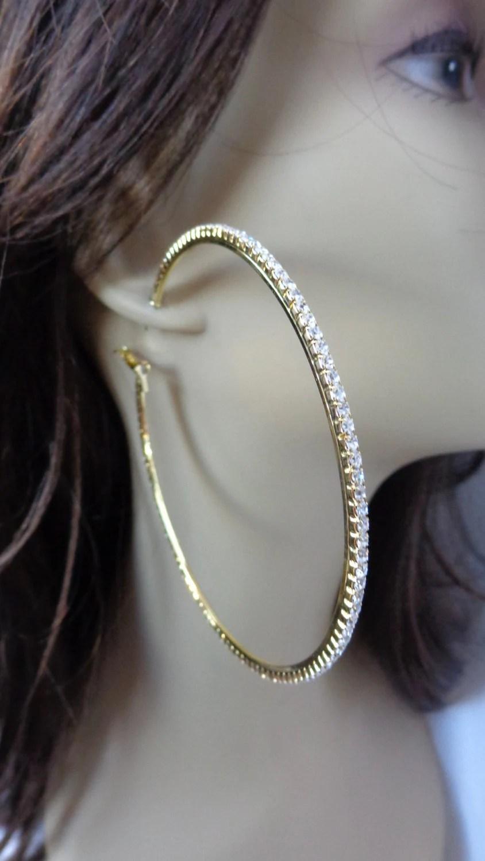 Large 4 inch Hoop Earrings Classic Thin Rhinestone Crystal