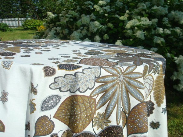 Cotton Tablecloth With Stylized Leaf Motif Autumn Table Cloth