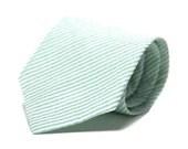 Mint Necktie , Seersucker Men's Necktie , Mint Green Seersucker Tie - MeandMatildaOutlet