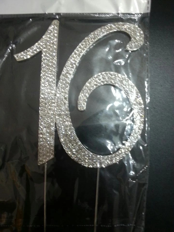 Large Rhinestone Silver Crystal Sweet 16 Birthday Cake Topper