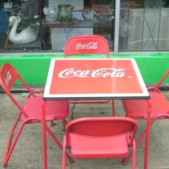 Coca Cola Chairs And Tables Blue Dining Uk Antique 1950s Porcelain Top Table Four Metal