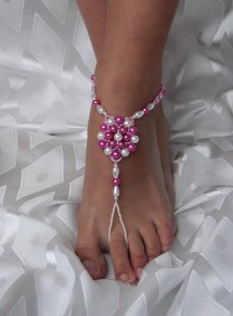 Pink And White Beaded Barefoot Sandal Anklet Foot