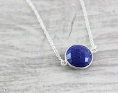 Dark Blue Necklace, Lapis Lazuli Gemstone Necklace, Large Pendant Necklace, Sterling Silver Necklace, Deep Blue Necklace, Royal Blue
