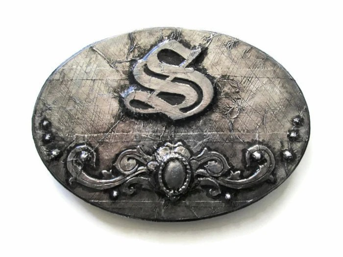 Illuminated Letter S embossed in a faux steel distressed finish, decorative Old English wall letter, monogram plaque home decor - FischerFineArts