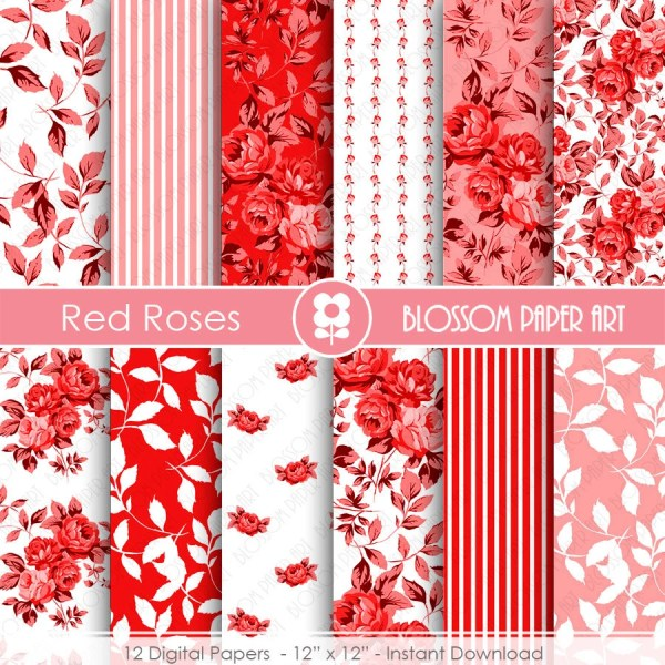 Red Digital Paper Floral Pack Scrapbook