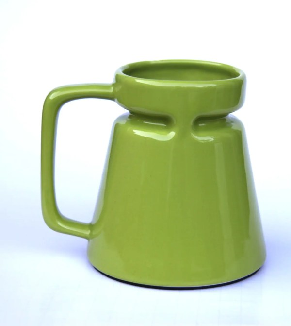 Bright Green Ceramic Travel Mug Spill Wide Base Narrow Top