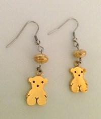 Gold Teddy Bear Drop Earrings Dangle Earrings
