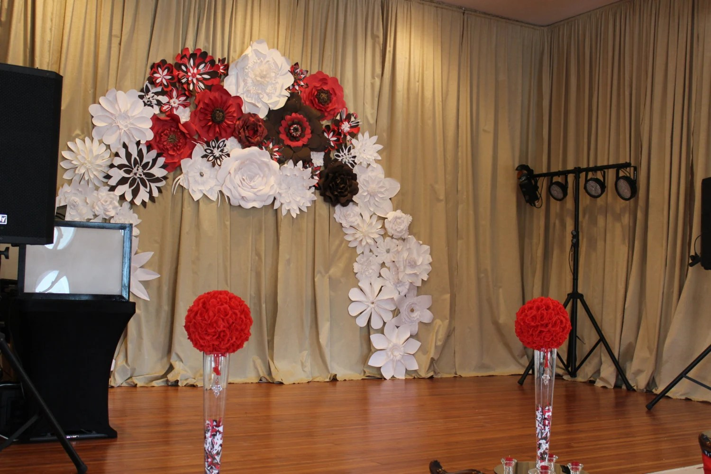 Paper Flower Arch Backdrop Wedding
