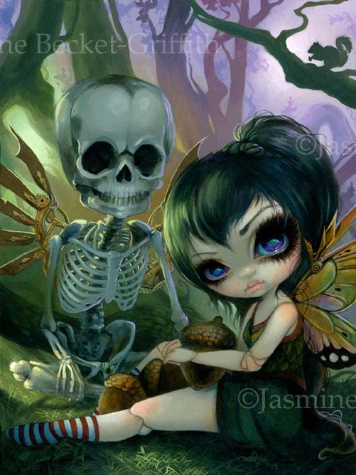 Eve and Rib fairy skeleton art print by Jasmine
