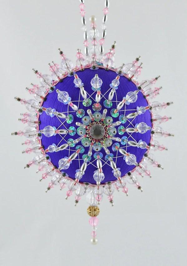 Satin Beaded Christmas Ornament Kit Purple Aurora