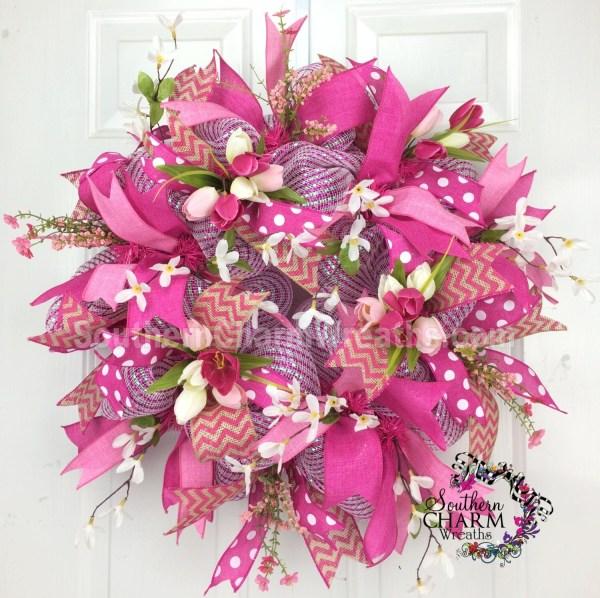 Deco Mesh Spring Wreath Hot Pink Ribbon Tulip Burlap