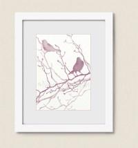 Pink Mauve Bathroom Wall Art Bird Print 5 x 7 Burgundy Home