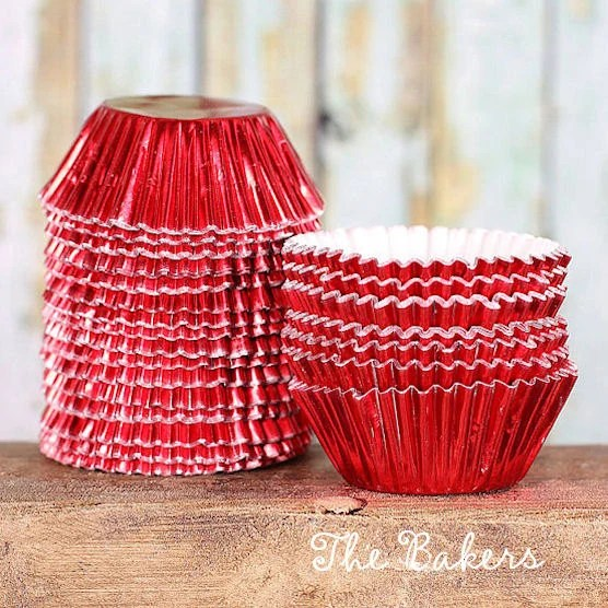 Mini Red Foil Cupcake Liners Mini Red Baking Cups Red Candy