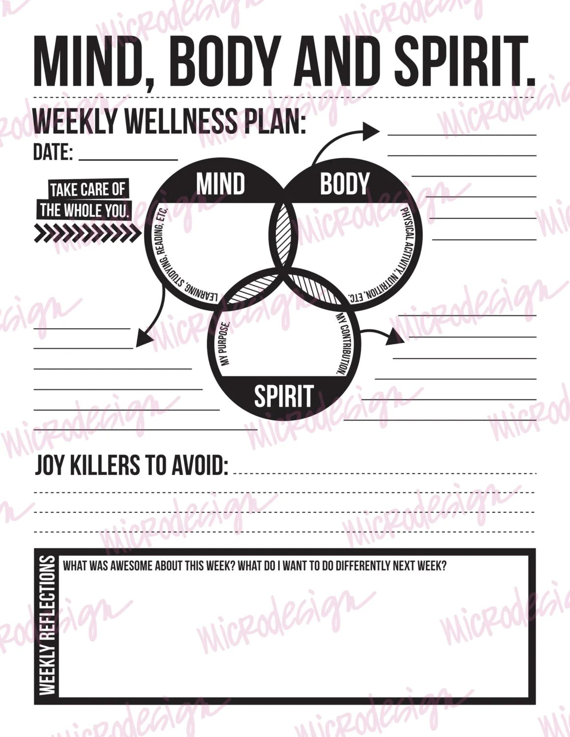 Mind Body Spirit Weekly Wellness Plan Downloadable Goal