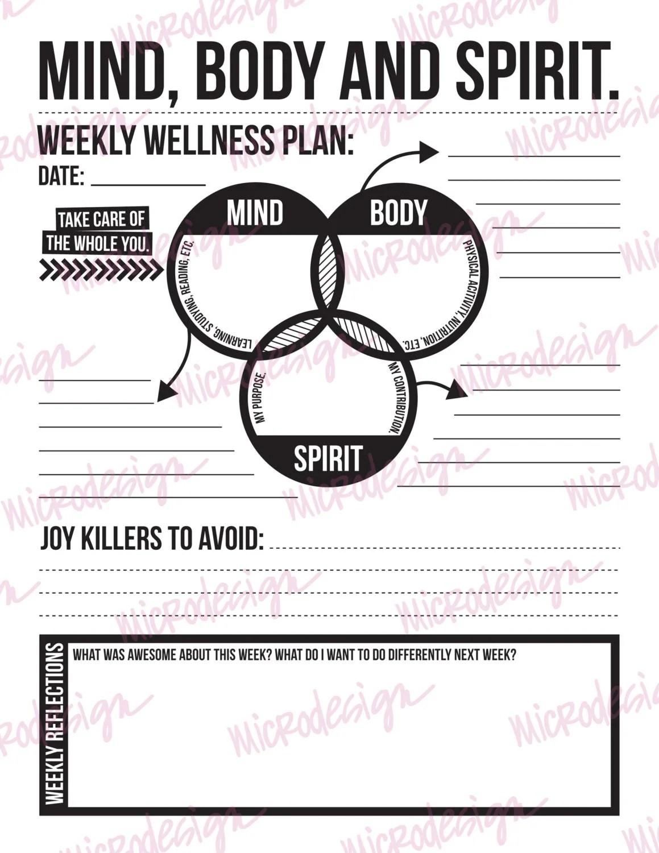 Mind Body Spirit Weekly Wellness Plan Downloadable Goal