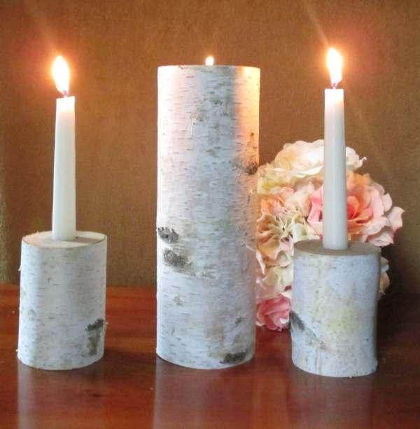 Wedding Unity Candle Birch Rustic Birchhousemarket