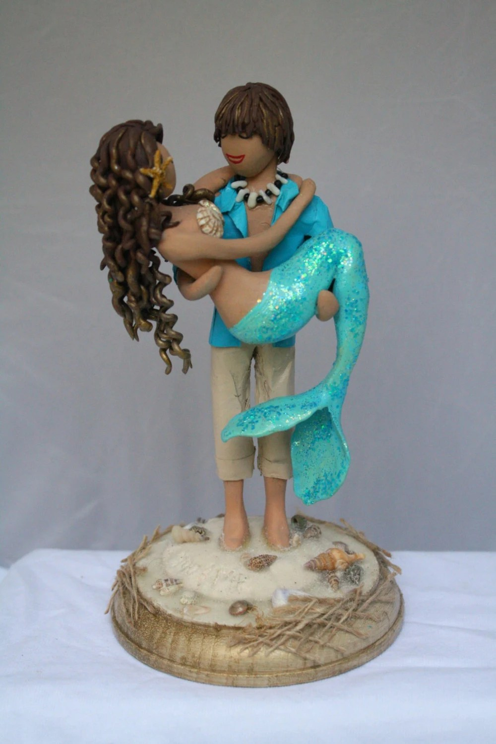 Mermaid and Beach Boy Wedding Cake Topper by CrimsonMuse