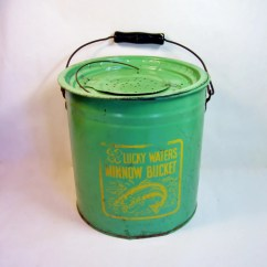 Folding Chair Auction Ovo High Vintage Lucky Waters Minnow Bucket Fishing Collectible Green