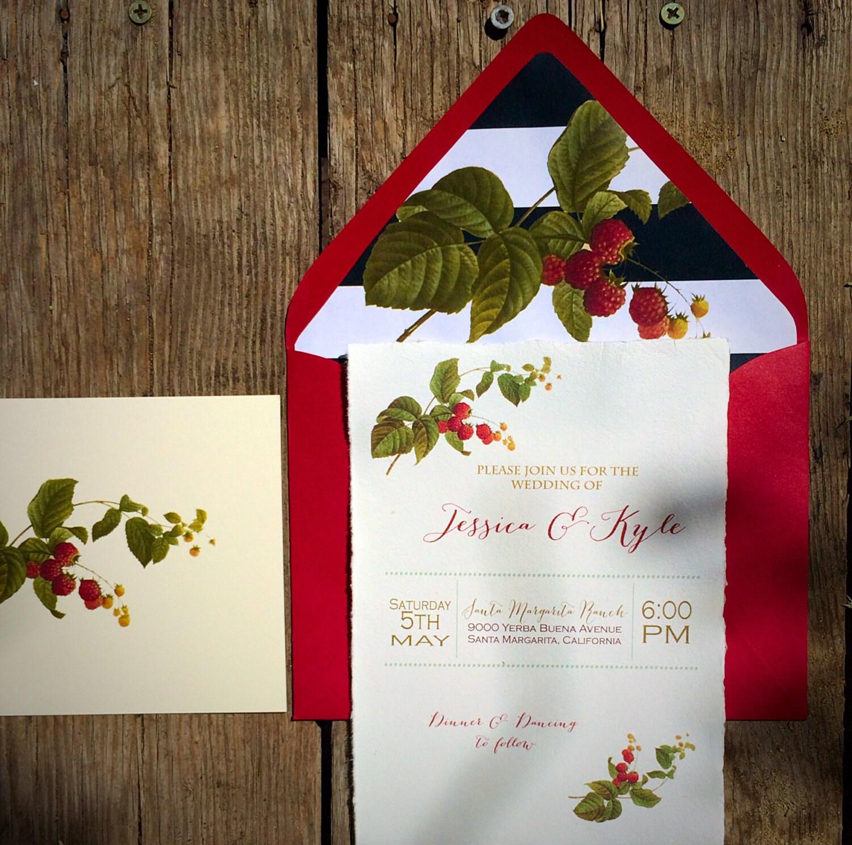 new vintage botanical berries hemp paper wedding With hemp paper wedding invitations