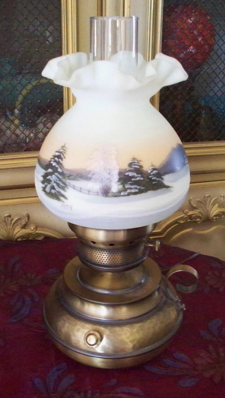 Fenton Hammered Colonial Fingerloop Lamp Christmas Lamp