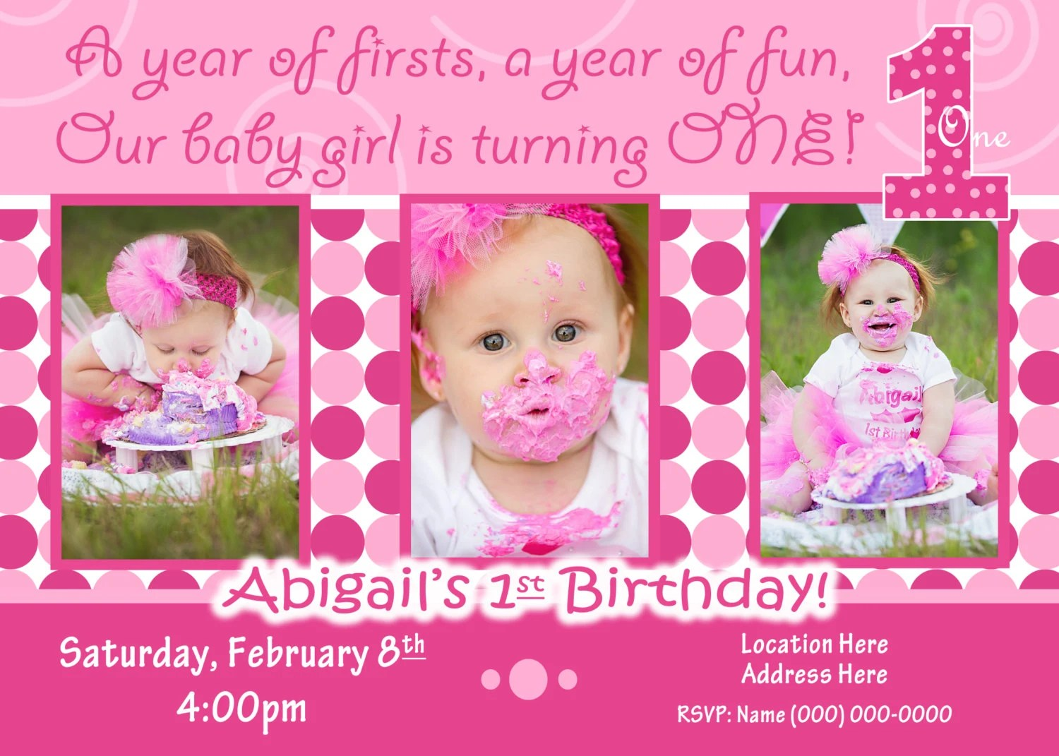 1st Birthday Girl Invitation 1st Birthday Girl Invite