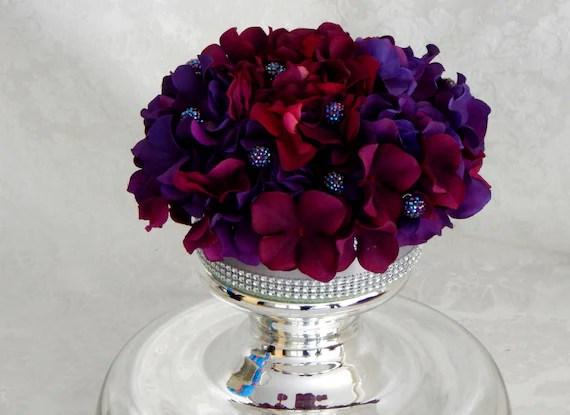 Wedding Cake Topper Purple Hydrangea Silk Flower Cake By