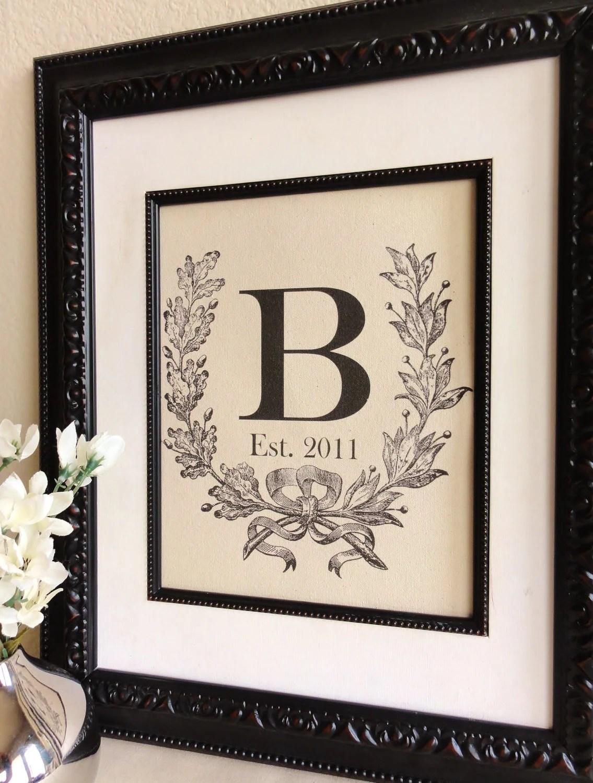 Cotton Anniversary Gift Custom Monogram with Crest Initial