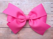 5 bright pink hair bow