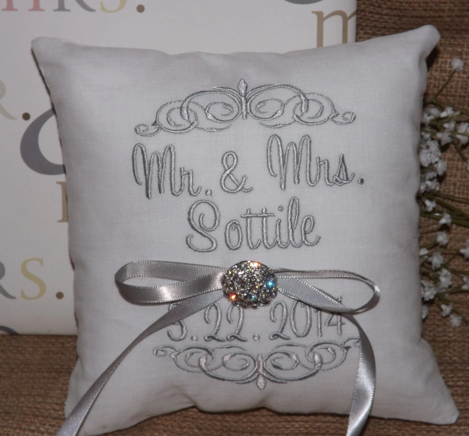 Ring Bearer Pillow Mr Amp Mrs Ring Pillow By ElegantThreadsEtc