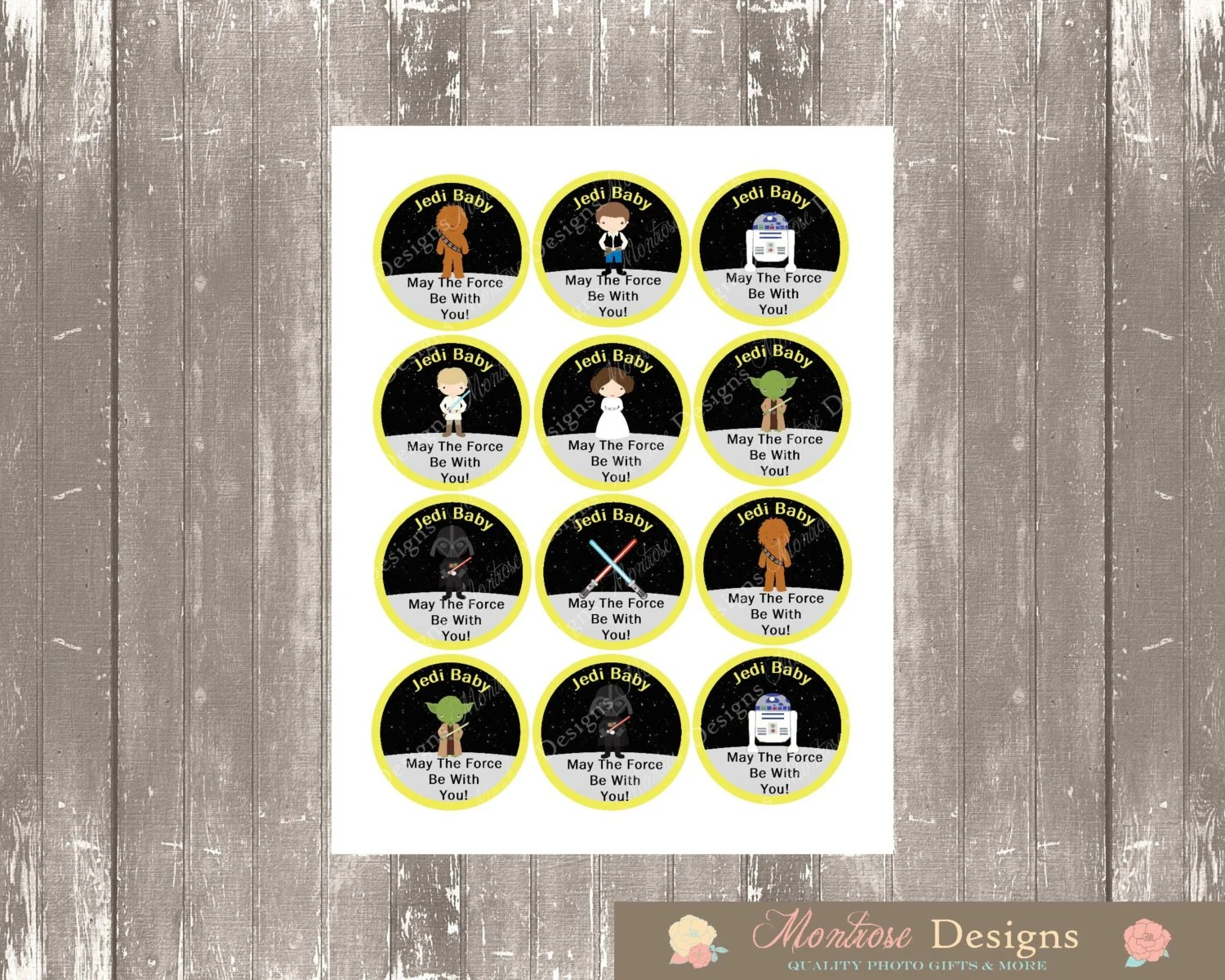 Star Wars Baby Shower Cupcake Toppers Baby Jedi May The