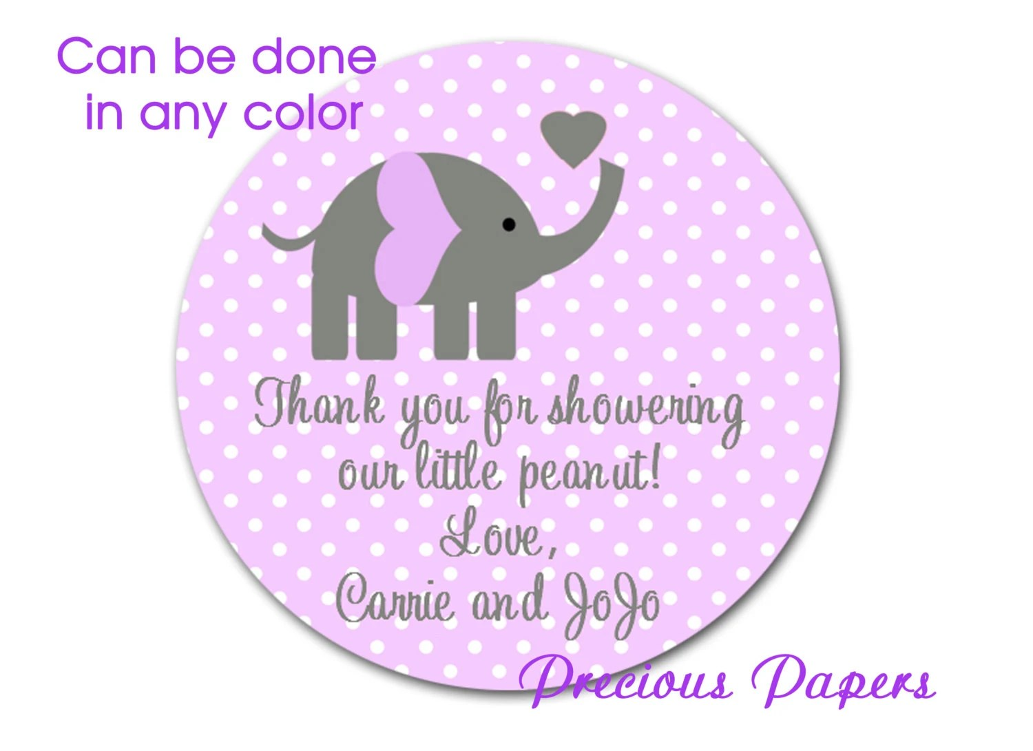 Personalized Printed Purple Elephant Baby Shower Sticker