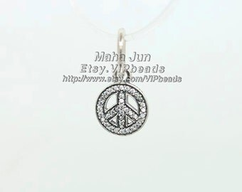 925 Sterling Silver Symbol of Peace with Clear CZ Pendant Charm Bead Fits European Style Jewelry