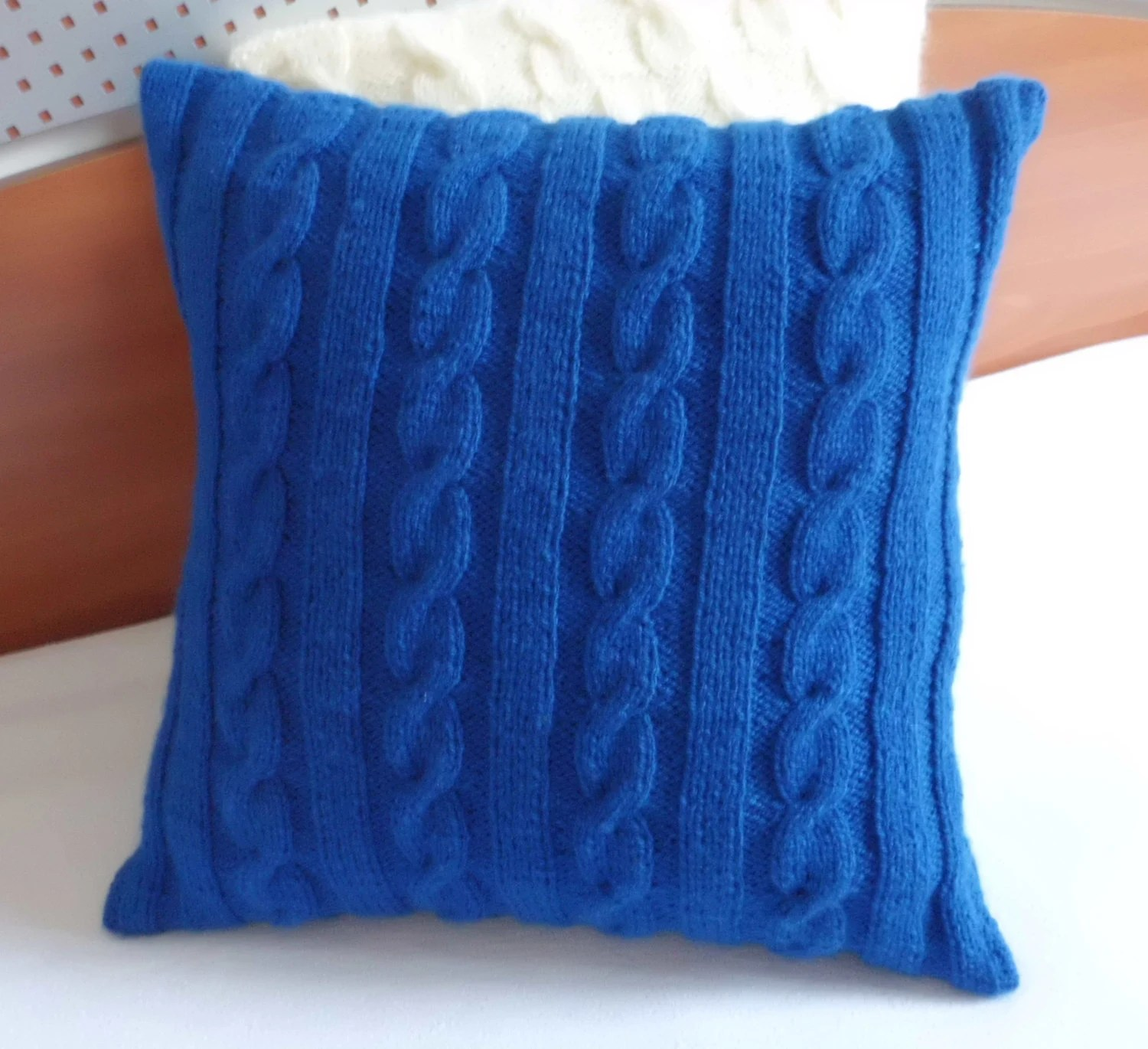 Cable Knit Royal Blue Knitted Pillow Cover Throw Pillow Hand