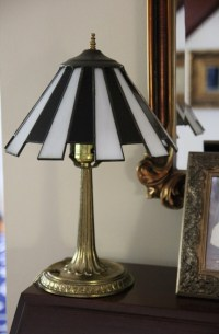 Small Brass Desktop Candlestick Lamp w/ Black and White
