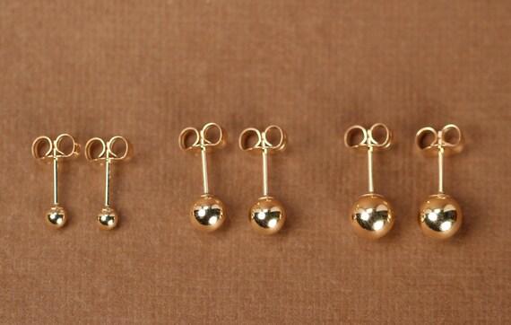 Gold ball earrings gold dot earrings gold studs tiny