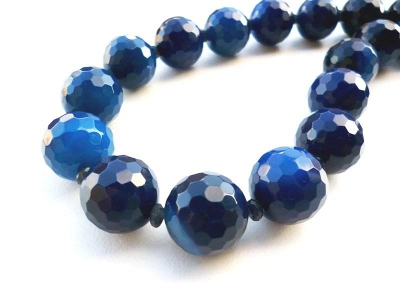 Dark Blue Chunky Gemstone Necklace Gemstone Jewelry Blue