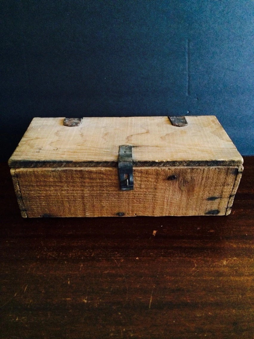 Antique Wooden Box with Leather Hinges