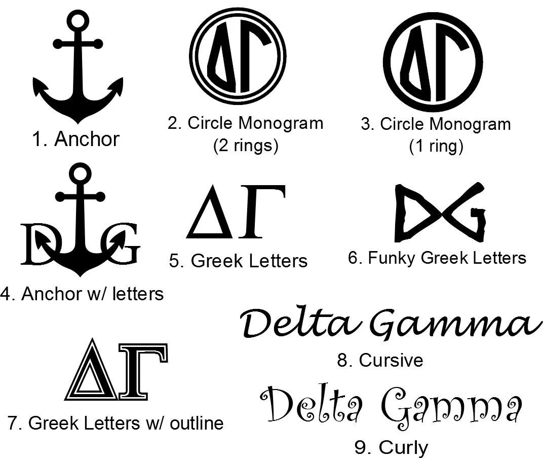 Delta Gamma Stickers Decal Greek Letter