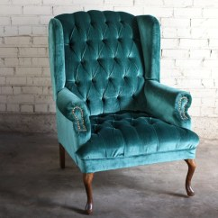 Green Velvet Tufted Chair Sling Patio Furniture Teal Wingback