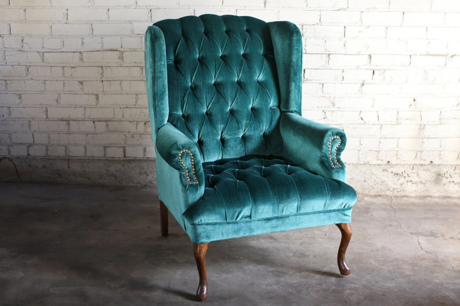 Teal Rocking Chair Teal Green Velvet Tufted Wingback Chair