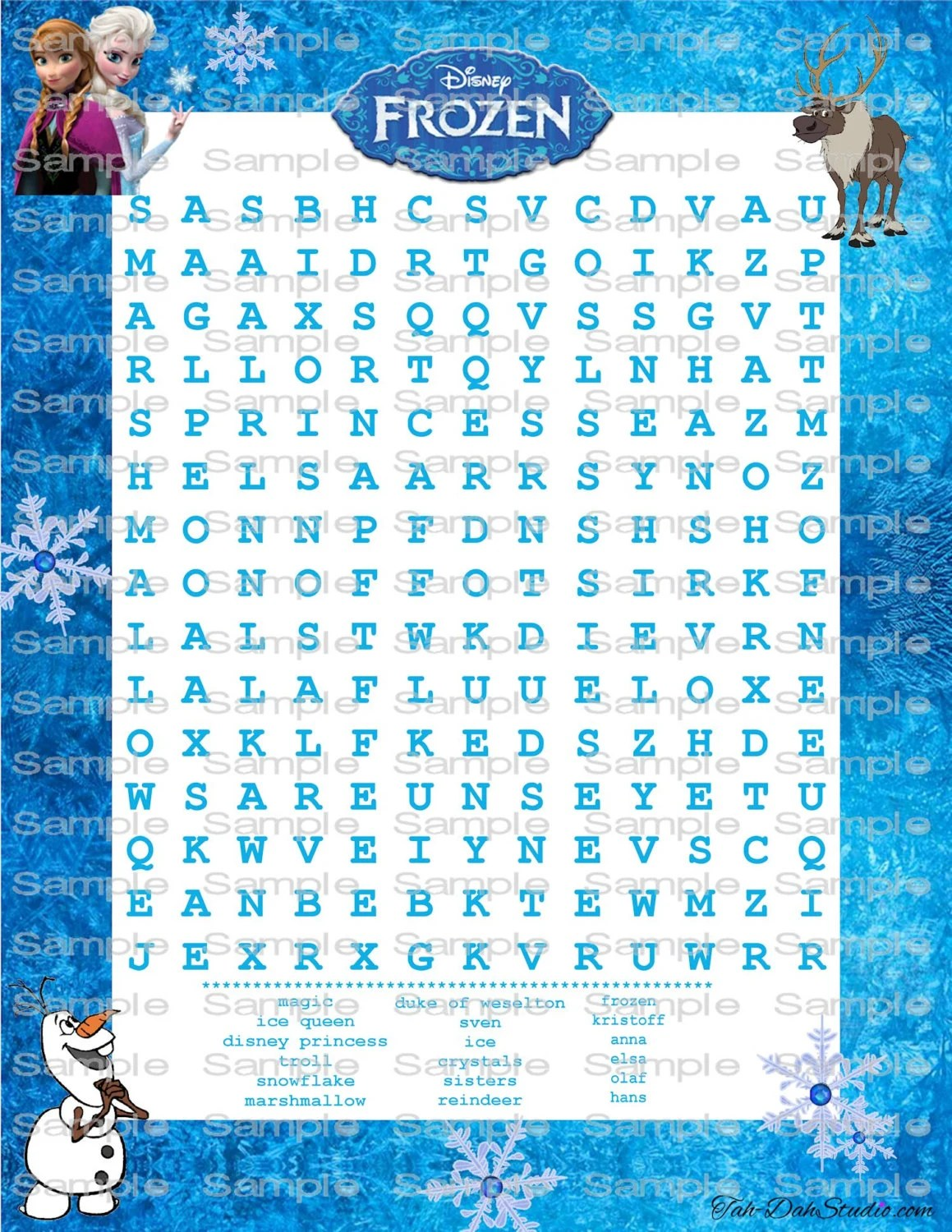 New Disney Frozen Word Search Game Birthday Party By